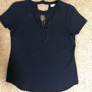 Tops - Navy lace blouse